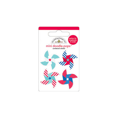 Doodlebug Design - Stars and Stripes Collection - Doodle-Pops - 3 Dimensional Cardstock Stickers with Glitter - Mini - Spinners