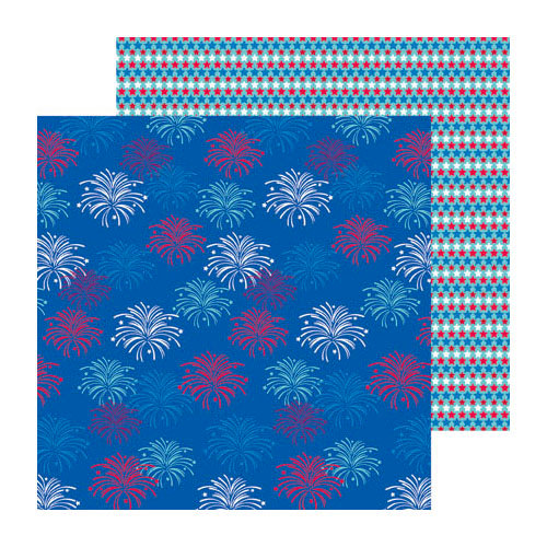 Doodlebug Design - Stars and Stripes Collection - 12 x 12 Double Sided Paper - Fireworks