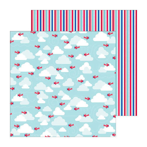 Doodlebug Design - Stars and Stripes Collection - 12 x 12 Double Sided Paper - Freedom Flight