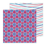 Doodlebug Design - Stars and Stripes Collection - 12 x 12 Double Sided Paper - Freedom Flowers