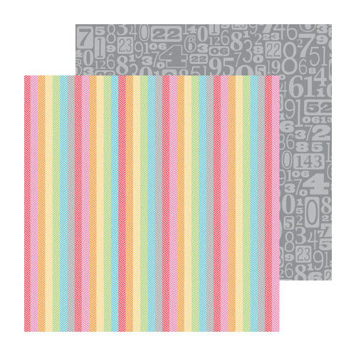 Doodlebug Design - Take Note Collection - 12 x 12 Double Sided Paper - Tweed Stripe