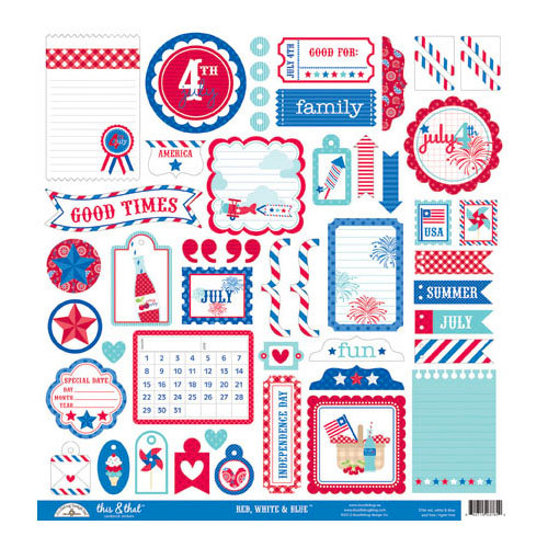 Doodlebug Design - Stars and Stripes Collection - 12 x 12 Cardstock Stickers - This and That