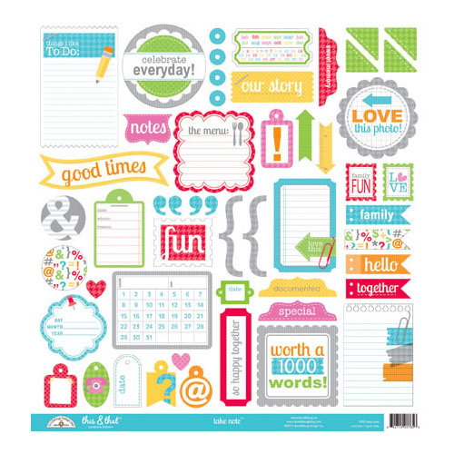 Doodlebug Design - Take Note Collection - 12 x 12 Cardstock Stickers - This and That
