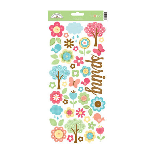 Doodlebug Design - Flower Box Collection - Cardstock Stickers - Icons