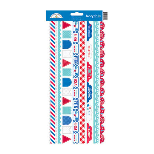 Doodlebug Design - Stars and Stripes Collection - Cardstock Stickers - Fancy Frills
