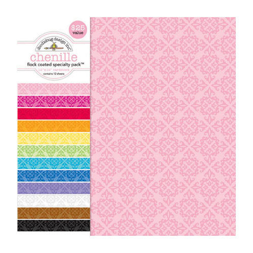 Doodlebug Design - 12 x 12 Crushed Velvet Cardstock Assortment - Spot Flocked - Chenille