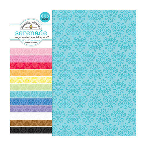 Doodlebug Design - Sugar Coated - 12 x 12 Glittered Cardstock Assortment - Serenade