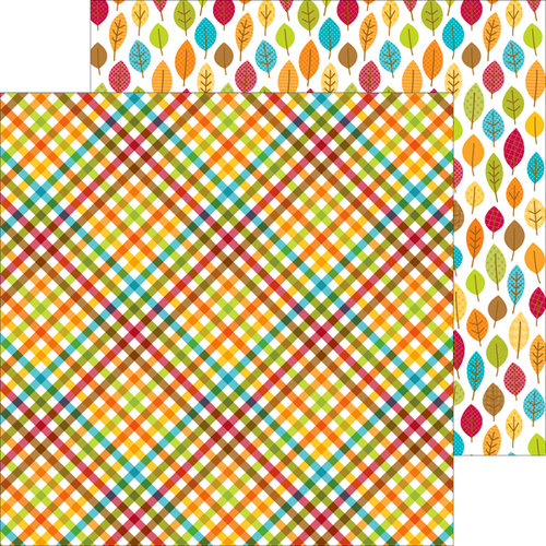 Doodlebug Design - Happy Harvest Collection - 12 x 12 Double Sided Paper - Plentiful Plaid