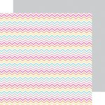 Doodlebug Design - Sugar Shoppe Collection - 12 x 12 Double Sided Paper - Sherbet Chevrons