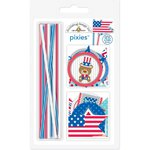 Doodlebug Design - Patriotic Parade Collection - Pixies - Straw Picks - Red, White and Blue