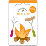 Doodlebug Design - Happy Camper Collection - Doodle-Pops - 3 Dimensional Cardstock Stickers - Mini - Campfire Fun