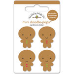 Doodlebug Design - Santa Express Collection - Christmas - Doodle-Pops - 3 Dimensional Cardstock Stickers - Jolly Gingerbread