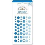 Doodlebug Design - Glitter Sprinkles - Self Adhesive Enamel Dots - Blue Jean