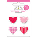 Doodlebug Design - Lovebugs Collection - Doodle-Pops - 3 Dimensional Cardstock Stickers - Mini - Be Mine