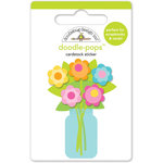 Doodlebug Design - Hello Sunshine Collection - Doodle-Pops - 3 Dimensional Cardstock Stickers - Bright Bouquet
