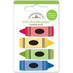Doodlebug Design - Back to School Collection - Doodle-Pops - 3 Dimensional Cardstock Stickers - Mini - Colorful Crayons