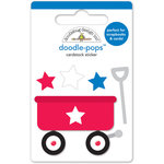 Doodlebug Design - Patriotic Picnic Collection - Doodle-Pops - 3 Dimensional Cardstock Stickers - Little Red Wagon