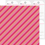 Doodlebug Design - Lovebugs Collection - 12 x 12 Double Sided Paper - Lipstick Stripe
