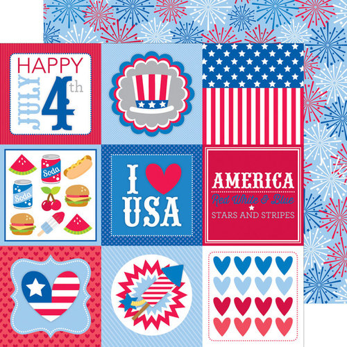 Doodlebug Design - Patriotic Picnic Collection - 12 x 12 Double Sided Paper - 4th of July