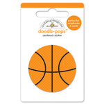 Doodlebug Design - Slam Dunk Collection - Doodle-Pops - 3 Dimensional Cardstock Stickers - Basketball