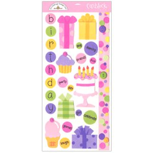Doodlebug Design - Cardstock Stickers - Birthday Girl