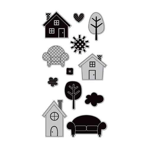 Doodlebug Design - Hampton Art - Unmounted Rubber Stamps - Home Sweet Home