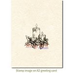 Deep Red Stamps - Christmas - Cling Mounted Rubber Stamp - Holiday Candles