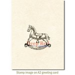 Deep Red Stamps - Cling Mounted Rubber Stamp - Rocking Horse
