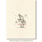 Deep Red Stamps - Cling Mounted Rubber Stamp - Snow Boy with Gift