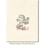 Deep Red Stamps - Cling Mounted Rubber Stamp - Cute Little Mermaid