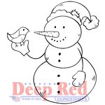 Deep Red Stamps - Cling Mounted Rubber Stamp - Snowman and Partridge