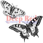 Deep Red Stamps - Cling Mounted Rubber Stamp - Butterflies Pair