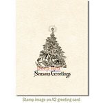 Deep Red Stamps - Christmas - Cling Mounted Rubber Stamp - Season's Greetings Tree