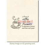 Deep Red Stamps - Cling Mounted Rubber Stamp - Coffee with Friends