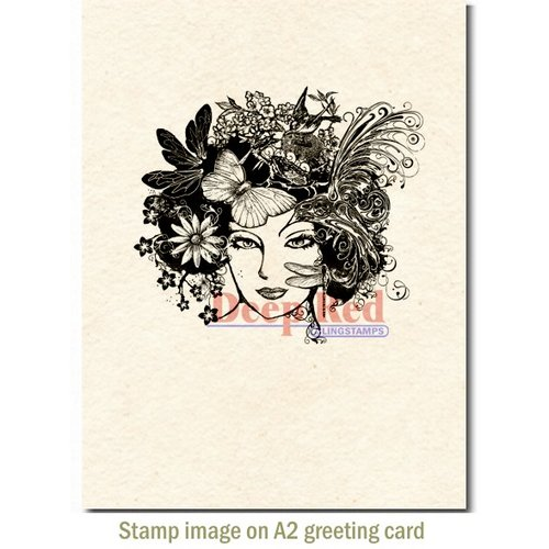 Deep Red Stamps - Cling Mounted Rubber Stamp - Madame Dragonfly