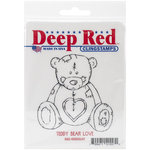 Deep Red Stamps - Cling Mounted Rubber Stamp - Teddy Bear Love