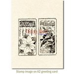 Deep Red Stamps - Christmas - Cling Mounted Rubber Stamp - Holly and Poinsettia Tickets