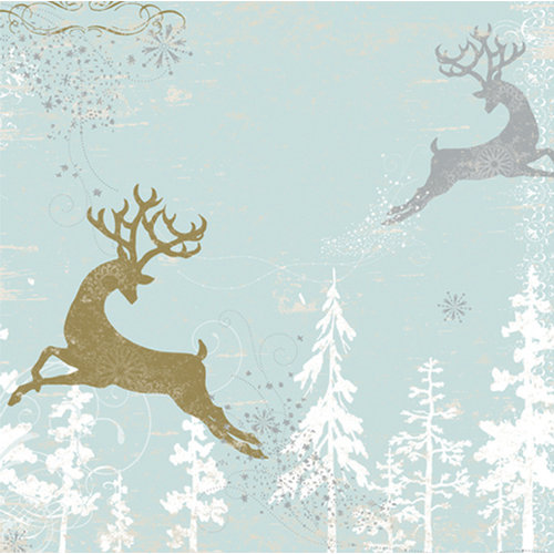 Deja Views - C-Thru - Little Yellow Bicycle - 25 Days of Christmas Collection - 12 x 12 Foil and Metallic Paper - Reindeer In Air, CLEARANCE