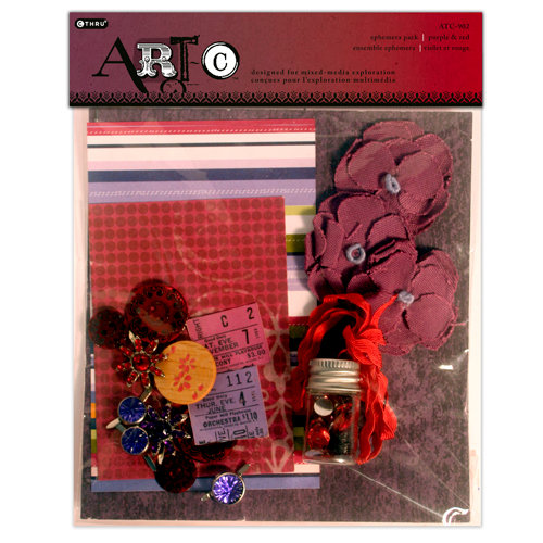 Deja Views - C-Thru - Art-C Collection - Ephemera Pack - Purple and Red