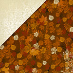 Deja Views - C-Thru - Little Yellow Bicycle - Autumn Bliss Collection - 12 x 12 Double Sided Paper - Brown Leaves, BRAND NEW