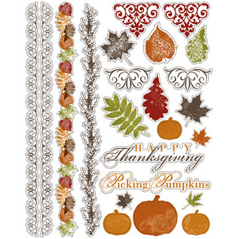 Deja Views - C-Thru - Little Yellow Bicycle - Autumn Bliss Collection - Clear Stickers with Metallic Accents, BRAND NEW