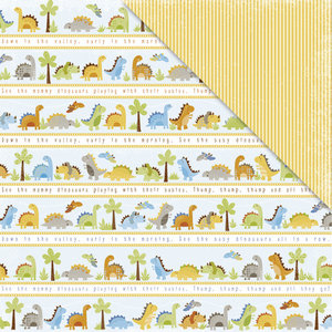 Deja Views - C-Thru - Little Yellow Bicycle - BabySaurus Collection - 12 x 12 Double Sided Textured Paper - Dino Parade