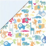 Deja Views - C-Thru - Little Yellow Bicycle - Baby Safari Boy Collection - 12 x 12 Double Sided Paper - Jungle, BRAND NEW