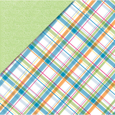 Deja Views - C-Thru - Little Yellow Bicycle - Baby Safari Boy Collection - 12 x 12 Double Sided Paper - Plaid