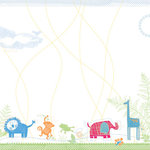 Deja Views - C-Thru - Little Yellow Bicycle - Baby Safari Boy Collection - 12 x 12 Embossed Paper - Jungle