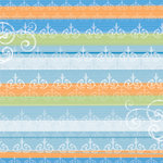 Deja Views - C-Thru - Little Yellow Bicycle - Baby Safari Boy Collection - 12 x 12 Embossed Paper - Stripes and Swirls, CLEARANCE