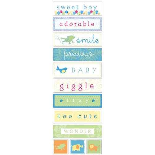 Deja Views - C-Thru - Little Yellow Bicycle - Baby Safari Boy Collection - Fabric Stickers - Words, CLEARANCE