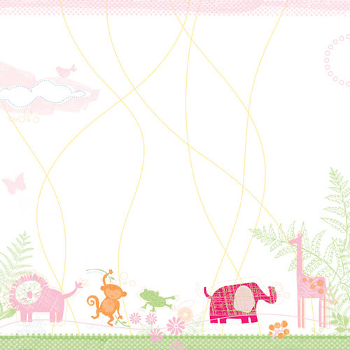Deja Views - C-Thru - Little Yellow Bicycle - Baby Safari Girl Collection - 12 x 12 Glitter Paper - Jungle