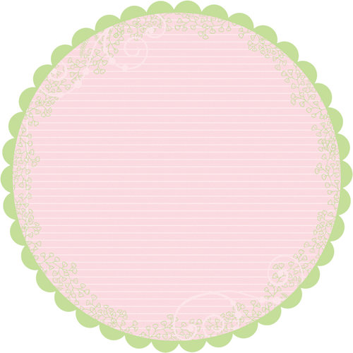Deja Views - C-Thru - Little Yellow Bicycle - Baby Safari Girl Collection - 12 x 12 Decorative Edge Paper - Round Scallop