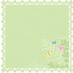 Deja Views - C-Thru - Little Yellow Bicycle - Baby Safari Girl Collection - 12 x 12 Lace-Cut Paper - Leafy Edge, CLEARANCE